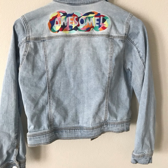 """Cat & Jack Other - JEAN JACKET WITH STITCHED """"AWESOME"""""""